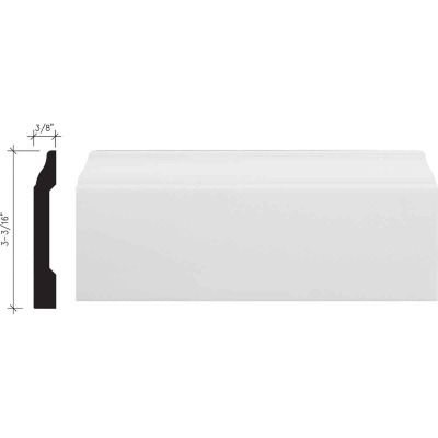 Inteplast Building Products 3/8 In. W. x 3-3/16 In. H. x 8 Ft. L. Crystal White Polystyrene Colonial Base Molding