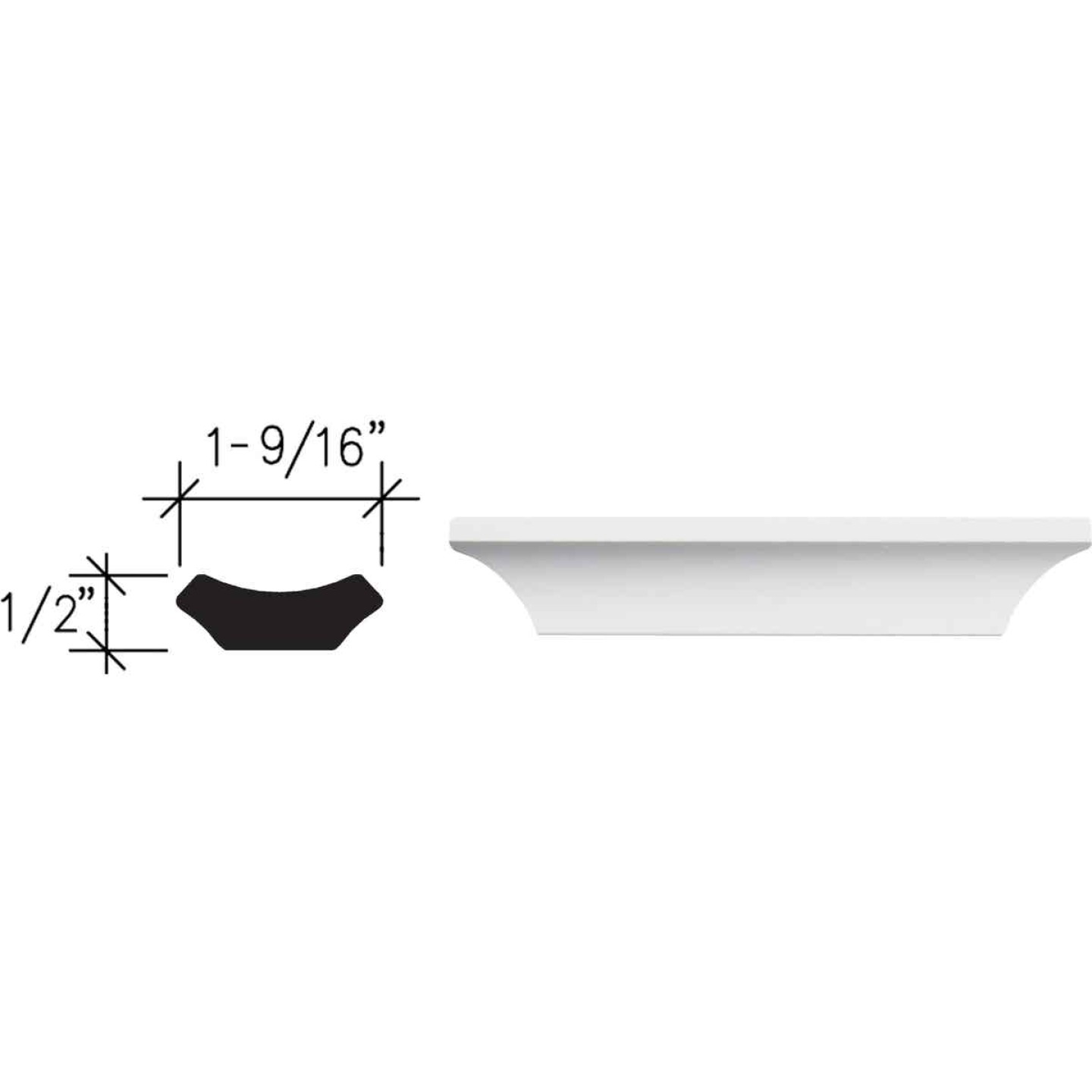 Inteplast Building Products 1/2 In. W. x 1-9/16 In. H. x 8 Ft. L. Crystal White Polystyrene Cove Molding Image 1