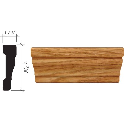 Inteplast Building Products 11/16 In. W. x 2-3/8 In. H. x 7 Ft. L. Majestic Oak Polystyrene Colonial Casing